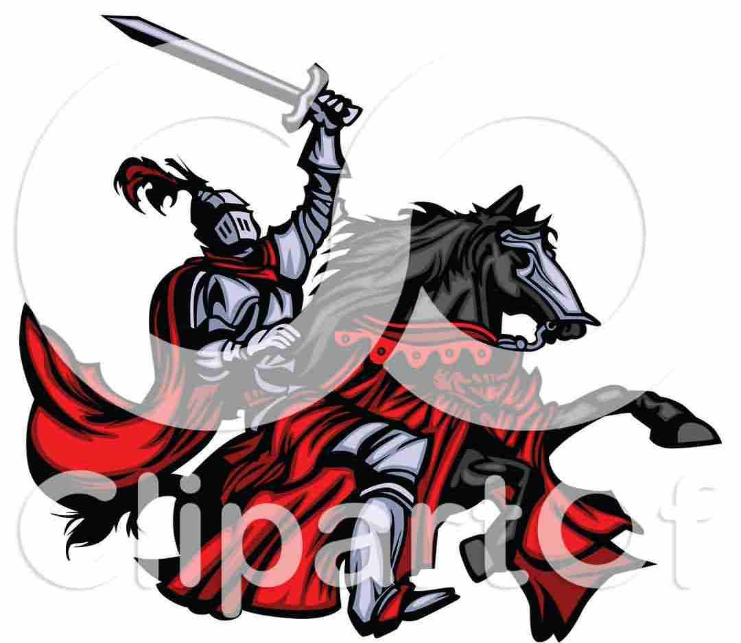 Medieval Knight Holding Up His Sword And Riding His Black Horse Tattoo Design