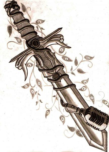 Mic Around Sharp Sword Tattoo Print