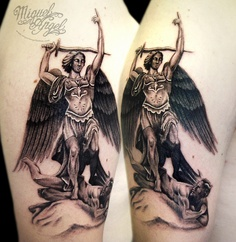Michael Archangel With Sword Tattoo On Biceps