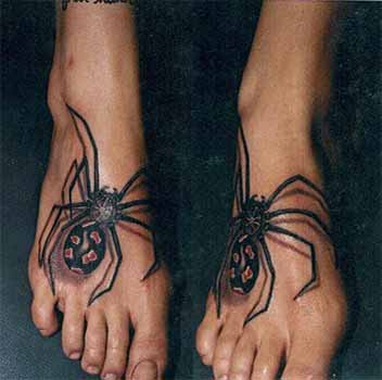 New 3D Spider Feet Tattoos