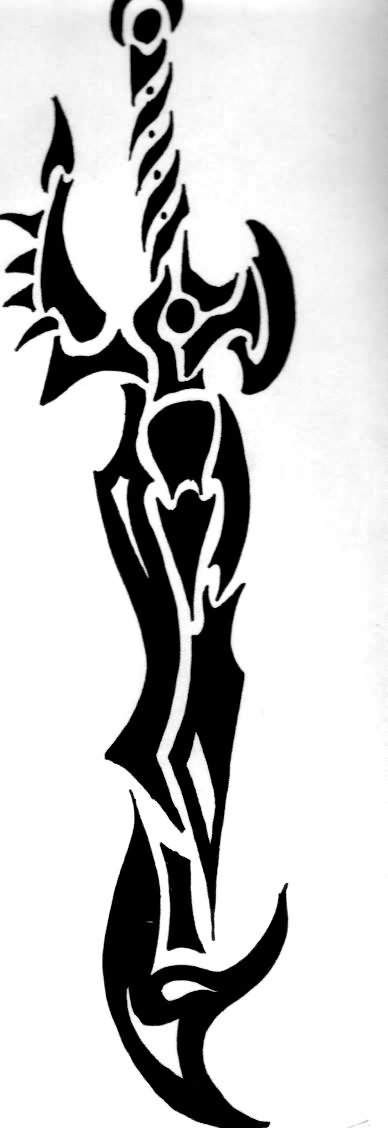 New Black Sword Tribal Tattoo Design