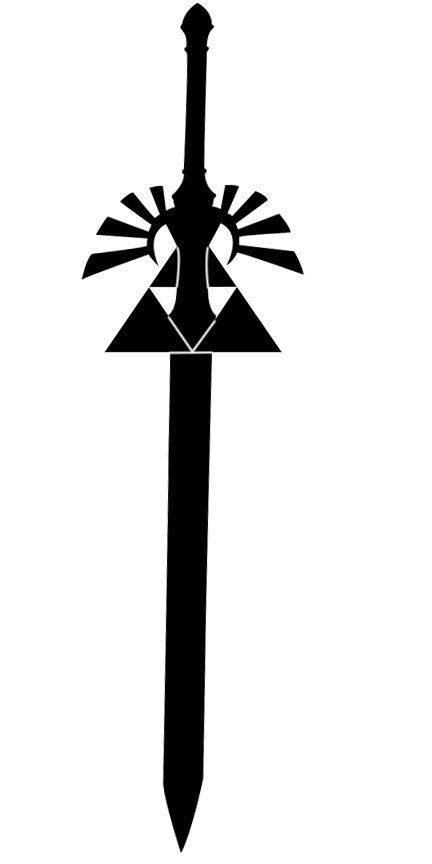 New Dark Black Triforce Master Sword Tattoo Model