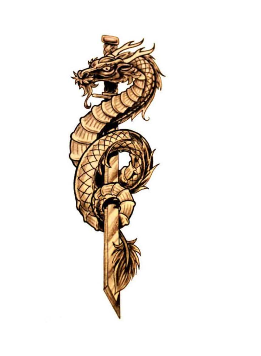 New Golden Dragon And Sword Tattoo Design