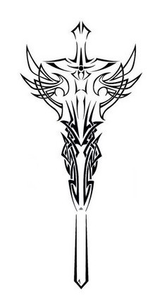 New Release Tribal Sword Tattoo Design