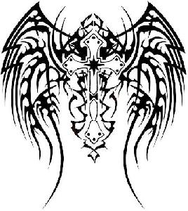 New Sword With Tribal Wings Tattoo Stencil