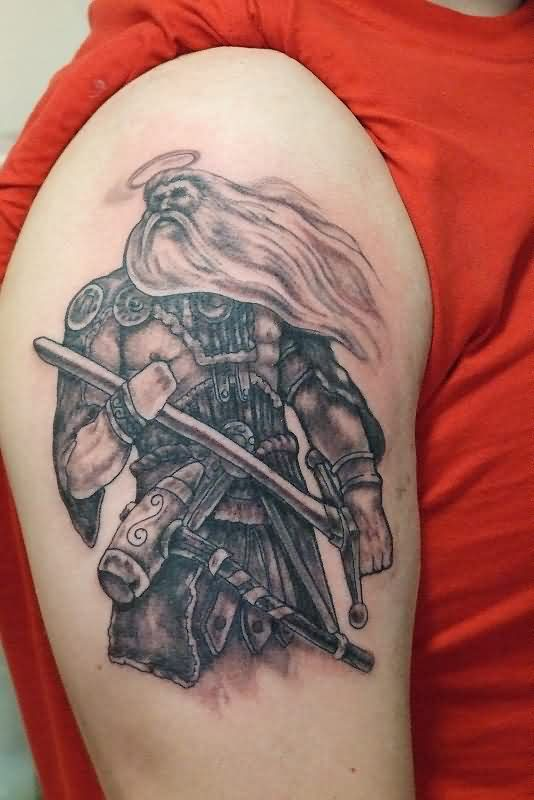 Old Warrior With Sword Tattoo On Biceps