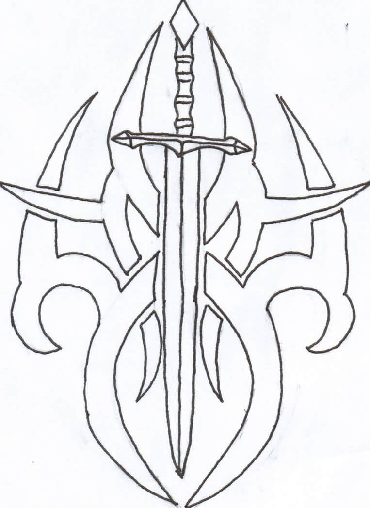Once Again Sword Tribal Tattoo Sample
