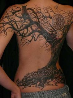 Owl Sitting On Tree 3D Tattoo On The Back
