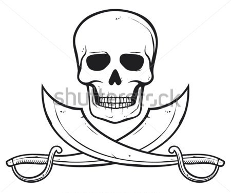 Pirate Skull And Crossed Swords Tattoos Stencil