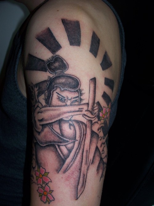 Rays And Samurai Sword Tattoos On Half Sleeve