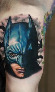 Realistic 3D Batman Face Tattoo On Muscles