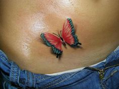 Red-Blue 3D Butterfly Tattoo On Hip