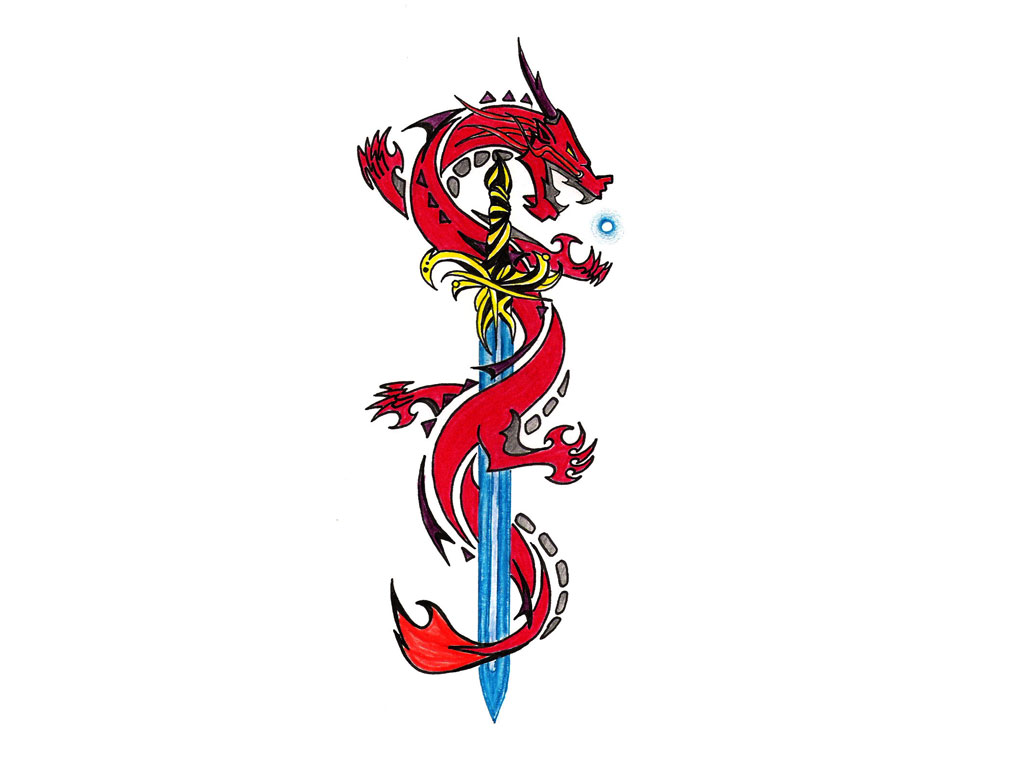 Red Dragon On Blue Matal Sword Tattoo Design