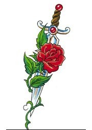 Red Rose And Sword Tattoo Stencil
