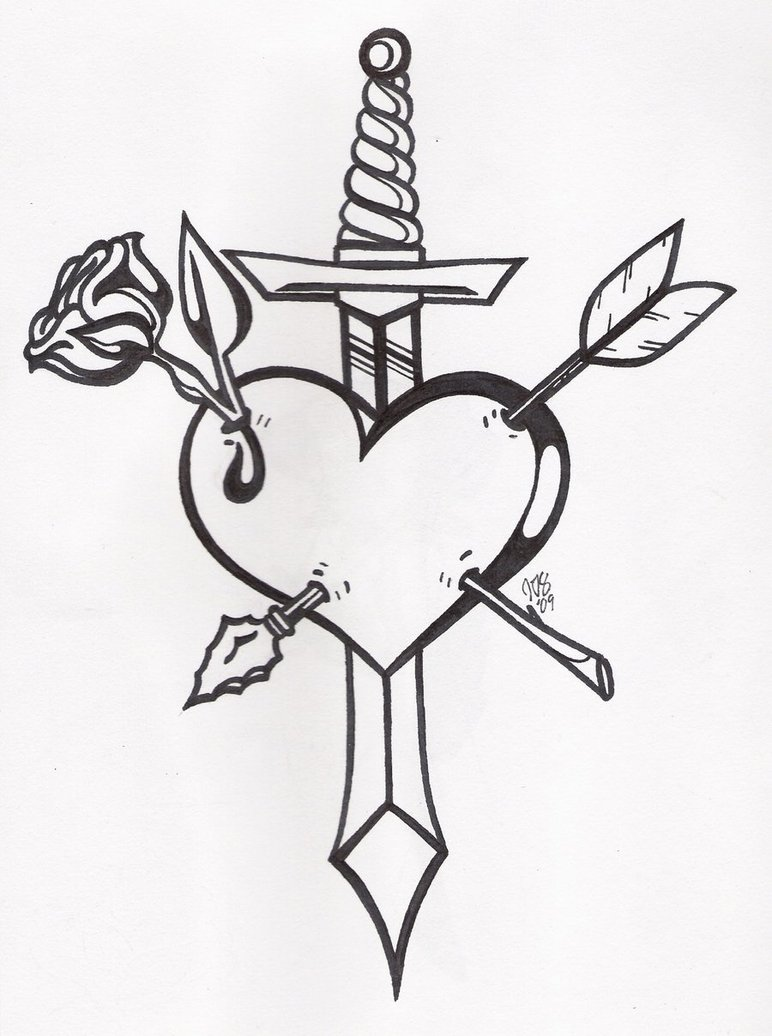 Rose Heart And Sword Tattoo Design