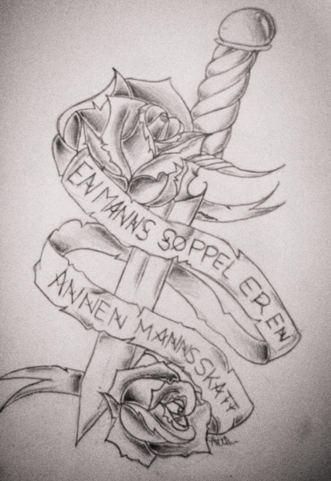 Rose Sword And Banner Tattoos Sketch