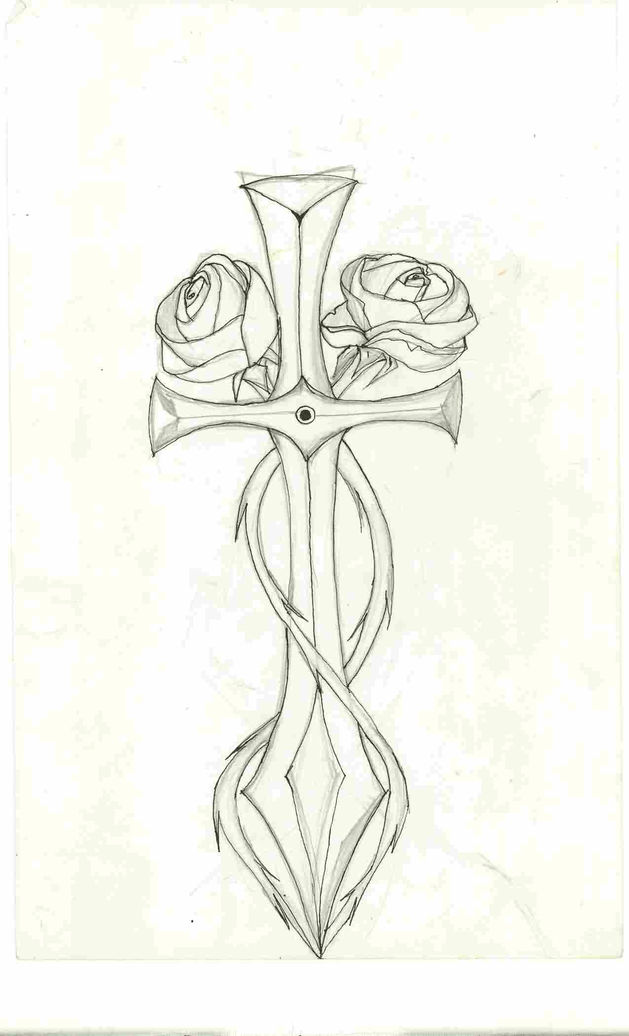 Roses And Sword Tattoos Sketch