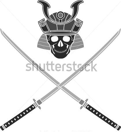 Samurai Head And Crossed Sword Tattoo Designs