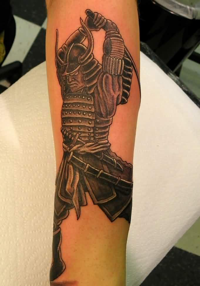 Samurai Swinging Sword Tattoo On Arm For Boys
