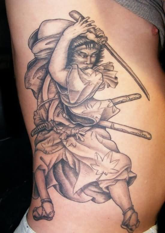 Samurai Swinging Sword Tattoo On Ribs