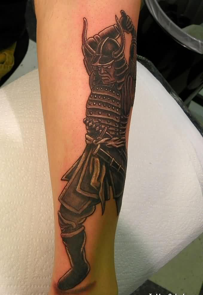 Samurai Swinging Sword Tattoo
