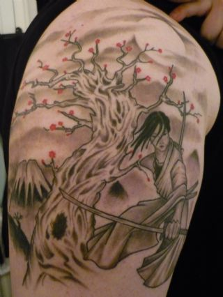 Samurai Sword And Tree Tattoos On Shoulder