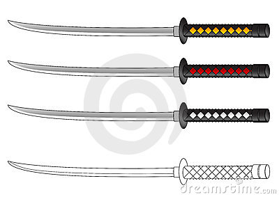 Samurai Sword Tattoos Set