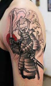 Samurai With A Sharp Sword Tattoo On Shoulder