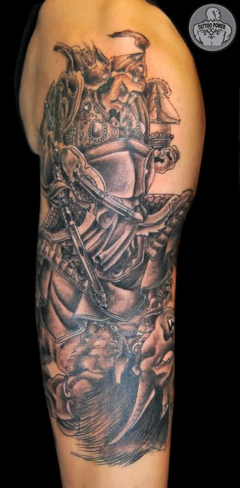 Samurai With Sword Tattoo On Half Sleeve