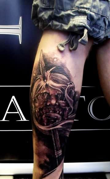 Scary Zombie With Sword Tattoo On Leg For Boys