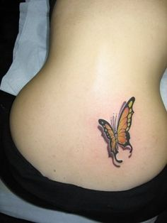 Sexy Back With 3D Butterfly Tattoo