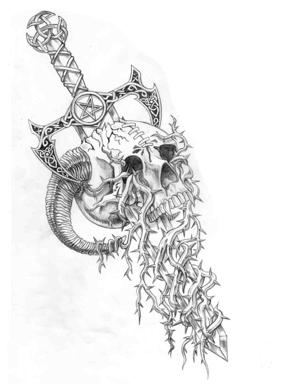 Skull Breaking Sword Tattoo Sketch
