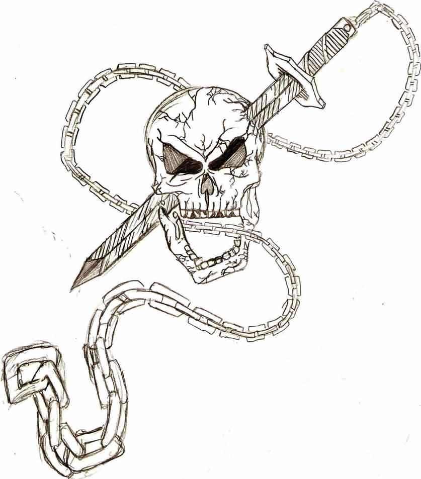 Skull Sword And Chain Tattoos Sketch