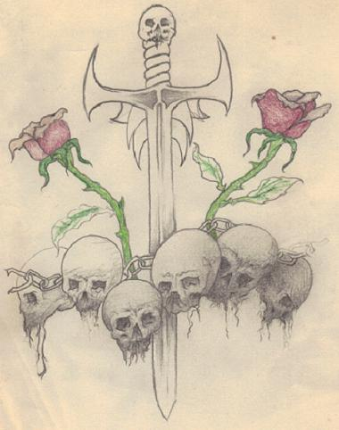 Skull Sword And Roses Tattoos Sketch