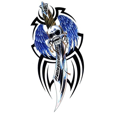 Skull Sword With Wings And Tribal Tattoo Designs