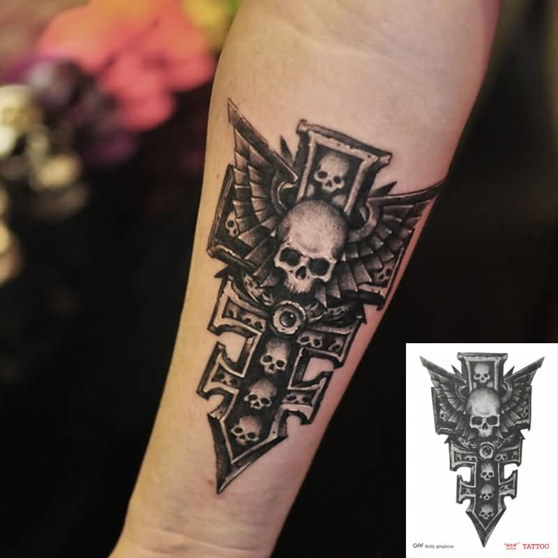 Skull Sword With Wings Tattoo On Arm