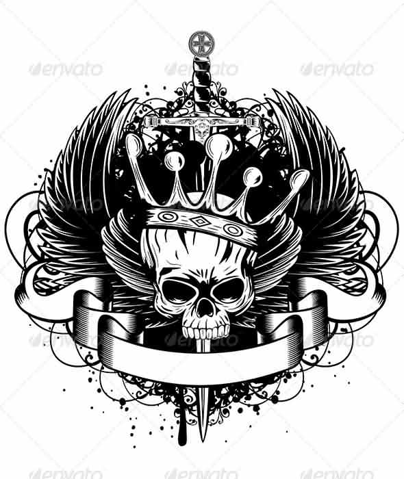 Skull With Crown Wings And Sword Tattoo Design