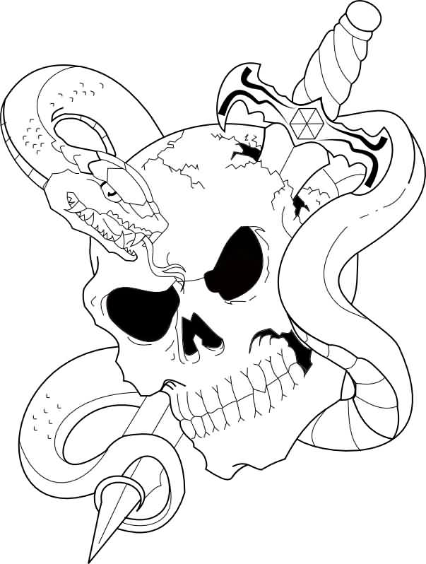 Skull With Snake And Sword Tattoos Sample