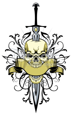 Skull With Sword And Design Elements Tattoo Design