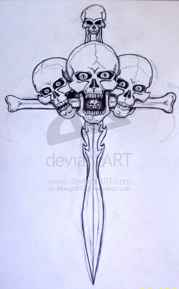 Skulls Sword Tattoo Sketch