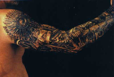 Sleeve Of 3D Biomechanical Tattoos