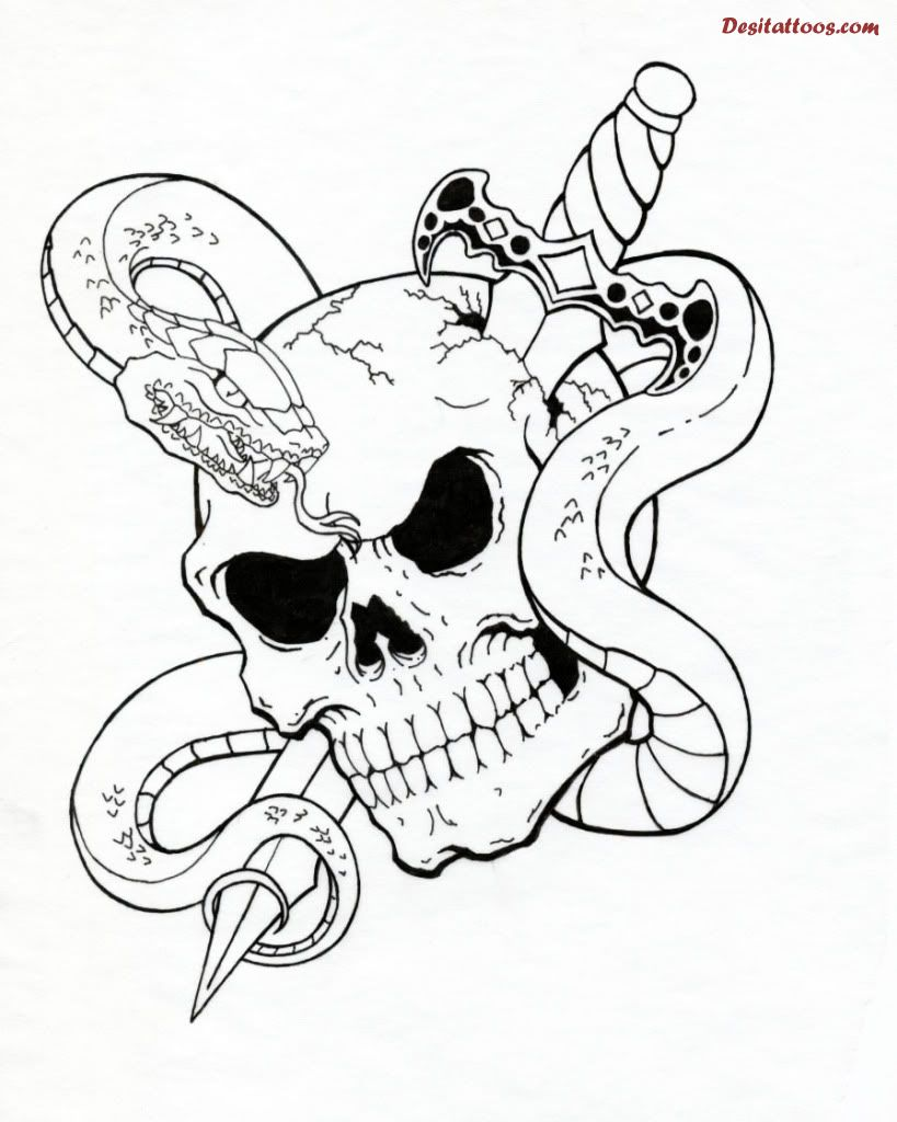 Snake And Sword Skull Tattoos Sample