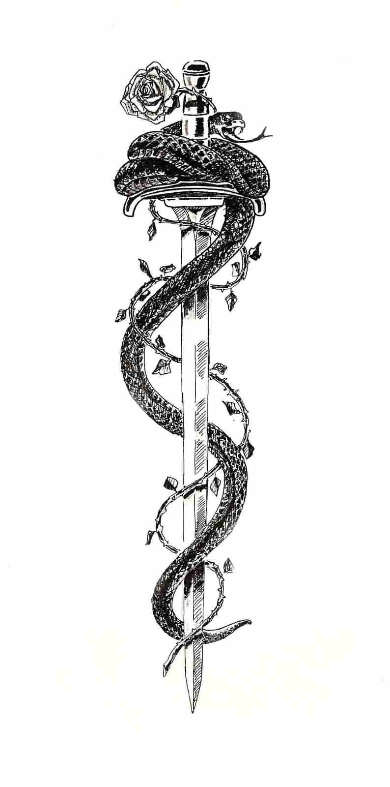 Snake Around Sword Tattoo Sample