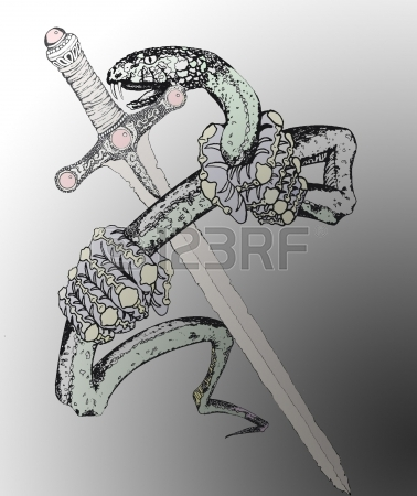 Snake With Sword Tattoo Poster
