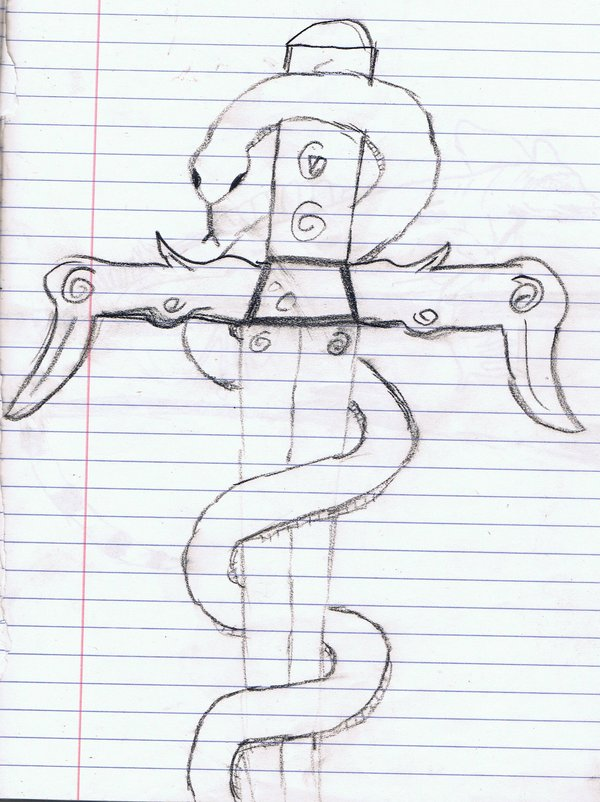 Snake Wrapped Around A Sword Tattoo Sketch
