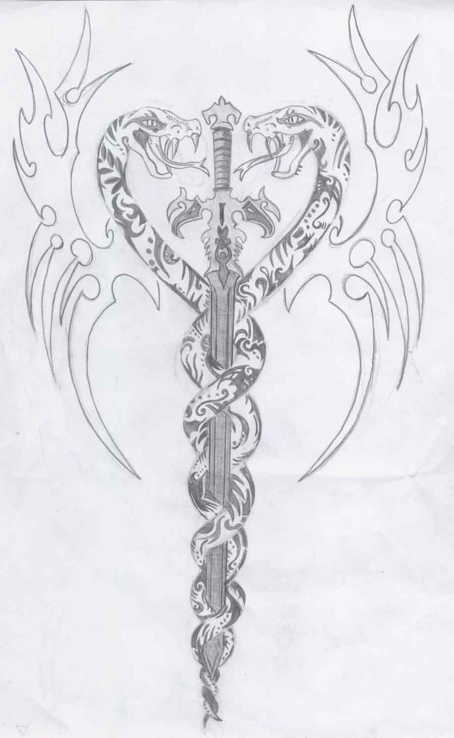 Snakes And Sword Tattoos Sketch