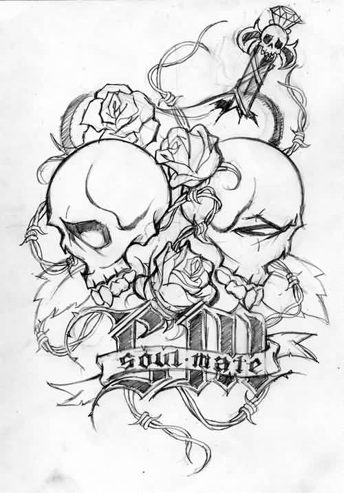 Soul Mate Skulls And Sword Tattoos Sample