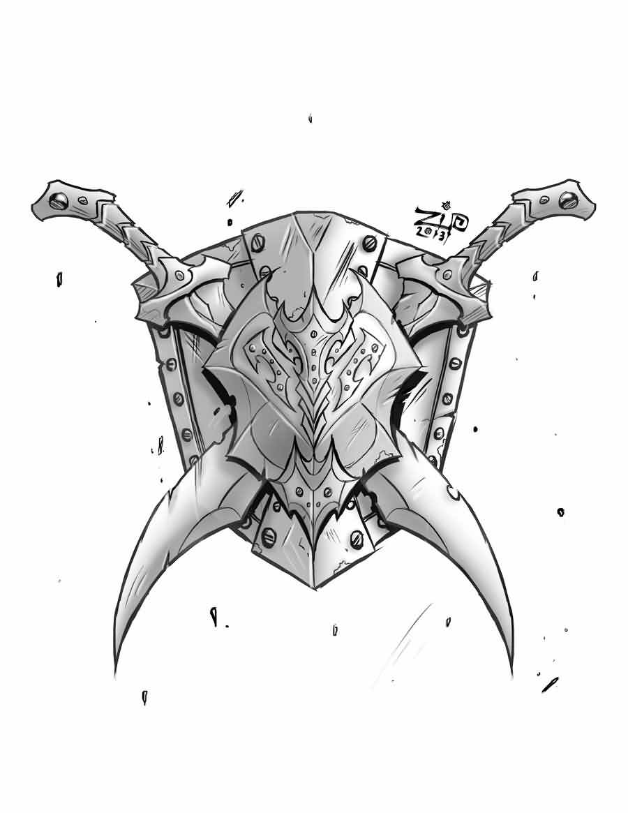 Steves Shield And Swords Tattoo Design