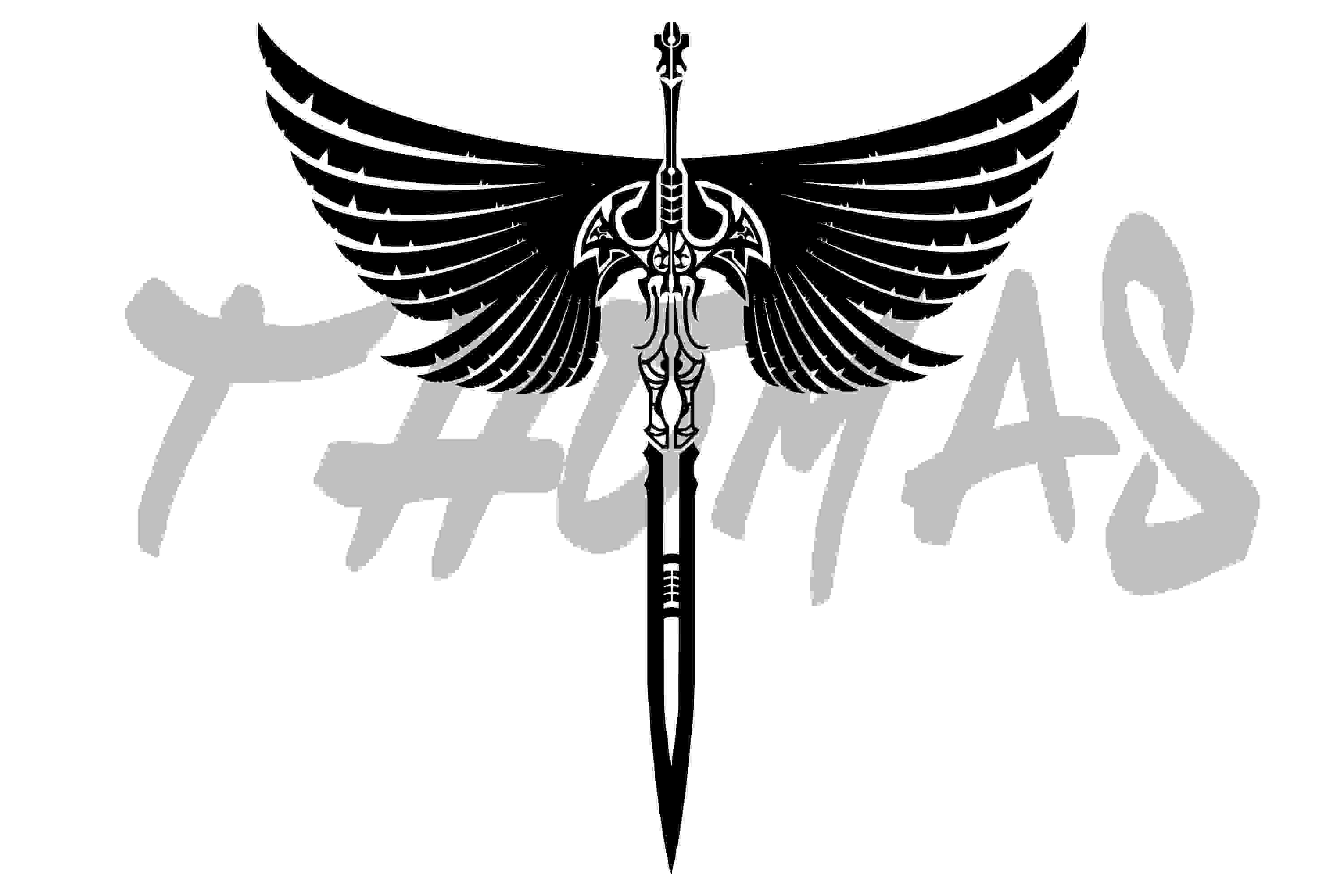 Stylish Sword And Wings Tattoo Design