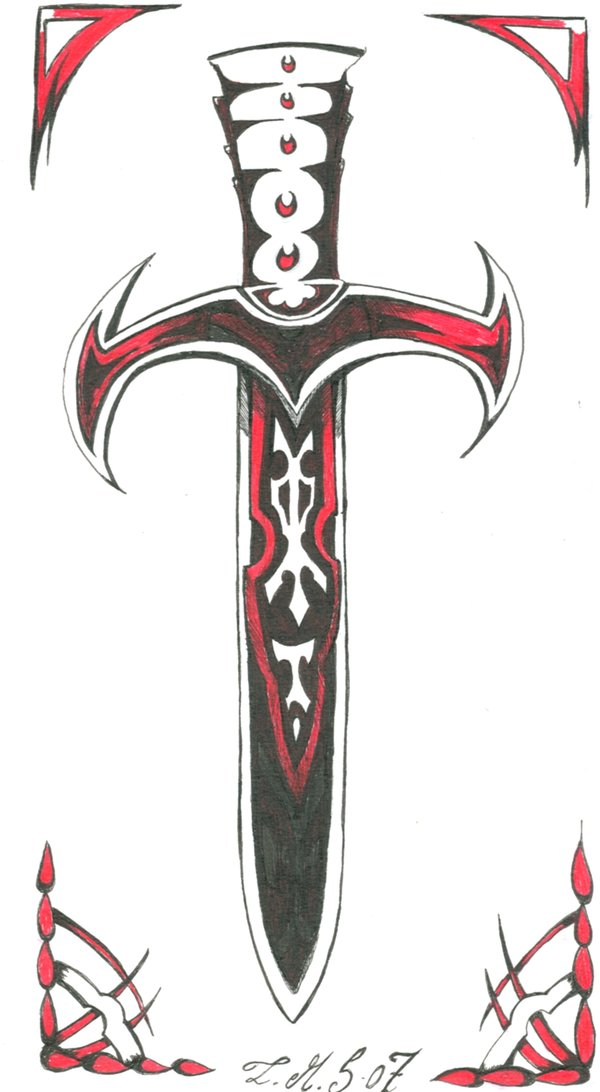 Stylish Sword Tattoo Design